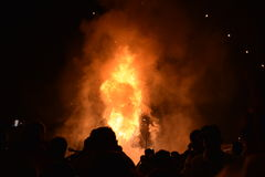 Effigy of King Ravana on Fire (Villain of Hindu mythological Epic Ramayana at Grounds near Red Fort Stock Photography