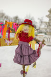 The Effigy Of Maslenitsa. Bright doll in Russian national clothes stock photography