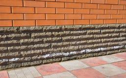 Efflorescence From Brick And Stone Masonry. Removing Salts. Stock Photos