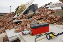 Effondrement de construction, zone de catastrophe photographie stock