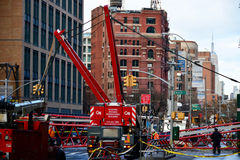 Effondrement de grue de New York Photographie stock libre de droits