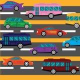 Effondrement de route et fond d'embouteillages avec Images stock
