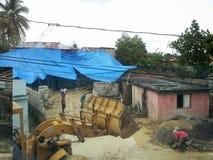 Effondrez-vous par la tempête dans un quartier défavorisé de Santo Domingo Photo libre de droits