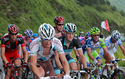 Effort. Beost,France,July 15th 2011: Close-up image of a group of cyclists in the peloton during the climbing the category H mountain pass Abisque in the 13th Stock Photo