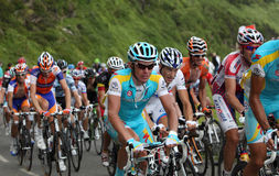 Effort. Beost,France,July 15th 2011: Close-up image of a group of cyclists in the peloton during the climbing the category H mountain pass Abisque in the 13th Stock Photography