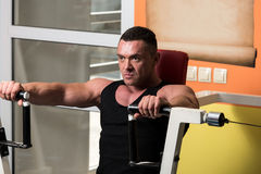 Effort On The Bench Press Exercise Machine Royalty Free Stock Photo
