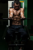 Effort On The Bench Press Exercise Machine Royalty Free Stock Image