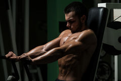 Effort On The Bench Press Exercise Machine Stock Photography