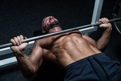 Effort On The Bench Press Royalty Free Stock Image