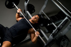 Effort on the bench press Stock Photos