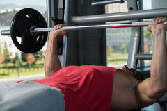 Effort On The Bench Press Royalty Free Stock Photography