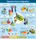 Effort Infographics isométrique de dépression illustration stock
