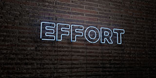 EFFORT -Realistic Neon Sign on Brick Wall background - 3D rendered royalty free stock image Royalty Free Stock Photography