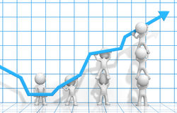 Effort and Result. Dude 3D characters X7 business people pushing up Blue Graph. Blue 3D Grid background Royalty Free Stock Images