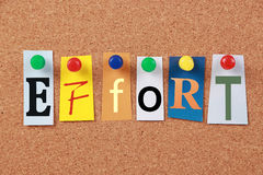 Effort Single Word. The word Effort in cut out magazine letters pinned to a corkboard stock photography