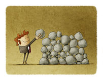 Effort and success in business. Businessman puts a stone on top of others, metaphor of effort and success in business vector illustration