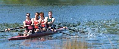 Effort 100% sur la rivière d'Avon, Christchurch. photos stock