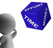 Effort Time Money Dice Representing Ingredients. For Business Profit Royalty Free Stock Images