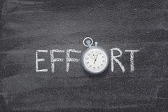 Effort word watch. Effort word handwritten on chalkboard with vintage precise stopwatch used instead of O stock image