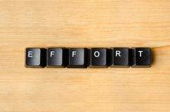 Effort word. With keyboard buttons stock images