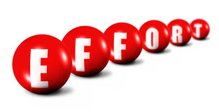 Effort word made of 3D spheres on white. Background, focus set in foreground Stock Photos
