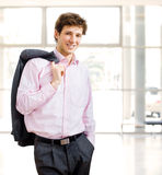 Effortless businessman in office building Stock Photo