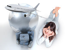 Effortless plane trip organization. Young woman lying on the floor by a pile of luggage the Earth and a flying plane Stock Photos