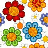 Effortless vivid floral pattern. Effortless white floral pattern with vivid decorative flowers Stock Photos