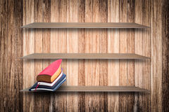 Efforts of the book concept. Efforts of books on Wood floors Royalty Free Stock Photos