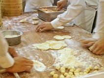 Efforts to make dumplings. In department store Royalty Free Stock Photography