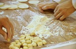 Efforts to make dumplings. In department store Stock Photography