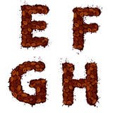 EFGH, english alphabet letters, made of coffee beans, in grunge. Style, isolated on white background Stock Photos