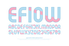 Efiow. Alphabet letters and numbers with striped pattern. , thin line font type. regular typeface design. contemporary, textured typesetting Royalty Free Stock Photography