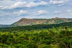 Efon ridge which is part of the larger Ekiti ridge. As seen around Efon Alaaye in Ekiti state of south western Nigeria. The Ekiti ridge is an undulating stock photo