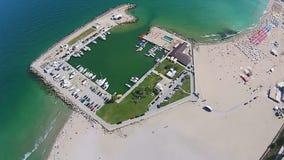 Eforie Nord, huvudsaklig strand och marina, Rumänien arkivfilmer