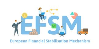 EFSM, meccanismo finanziario europeo di stabilizzazione Concetto con le parole chiavi, le lettere e le icone Illustrazione piana  illustrazione di stock