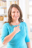 EFT tapping points. Woman doing EFT on the under collarbone. Emotional Freedom Techniques, tapping, a form of counseling intervention that draws on various Stock Photo