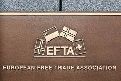 EFTA sign on a wall. Luxembourg city, Luxembourg - July 22, 2017: EFTA sign on a wall. EFTA is free trade area organisation consisting of four European states Royalty Free Stock Photo