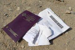Eftalou, Lesvos - October12, 2015 : Iran Passport. Torn apart Royalty Free Stock Image