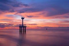 Efter solnedgång på stranden Arkivfoton