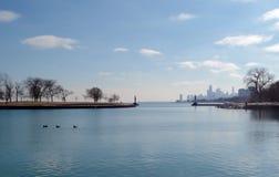 Eftermiddag på Montrose Harbor Arkivfoto