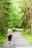 eftermiddagskogen går Royaltyfri Fotografi