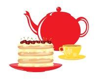Eftermiddagtebjudning med den körsbärsröda lagerkakan på vit royaltyfri illustrationer