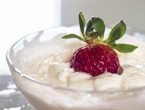 Efterrätt av den röda jordgubbecloseupen med yoghurt arkivbilder