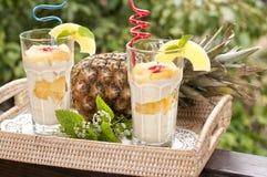 Efterrätt med ananas Arkivbilder