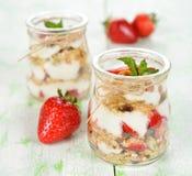 Efterrätt med yoghurt och granola fotografering för bildbyråer
