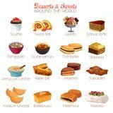 Efterrätt- och sötsaksymboler Arkivbilder