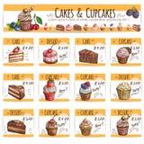 Efterrättbanret skissar kakor, muffinpriskort royaltyfri illustrationer