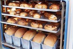 Efterrättbrödbakning i den Combi ångaren Produktionugn på bagerit Stekhett bröd Tillverkning av bröd arkivbilder