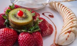 Efterrätten av jordgubbar Royaltyfria Bilder